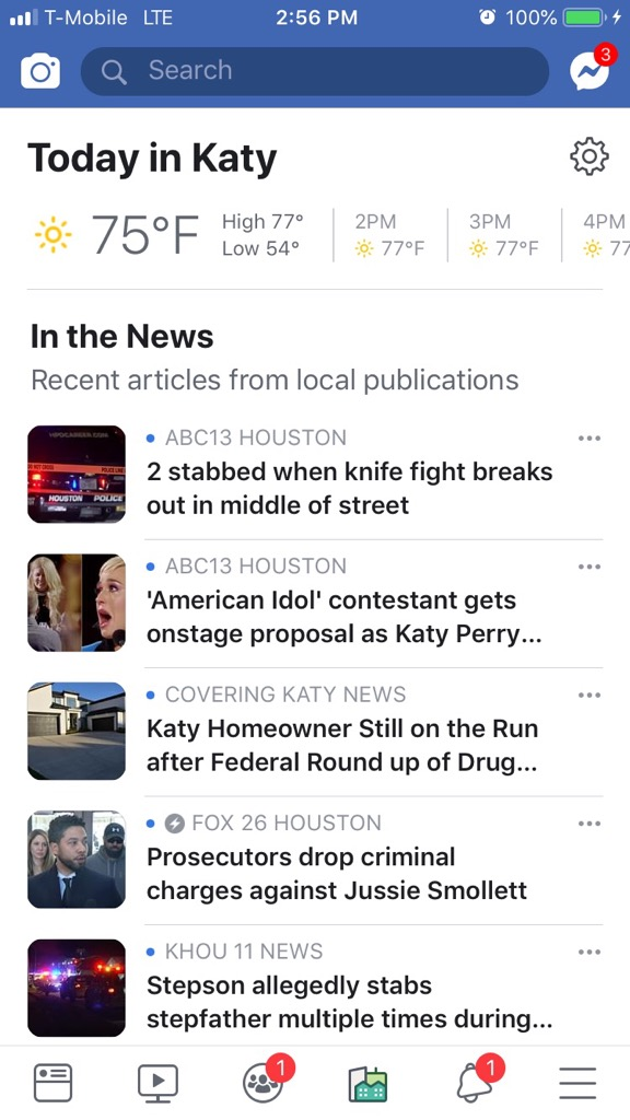 What kind of local news is Facebook featuring on Today In