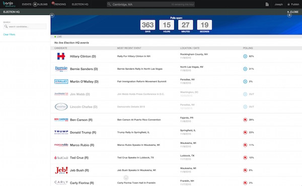 Social discovery app Banjo releases presidential election