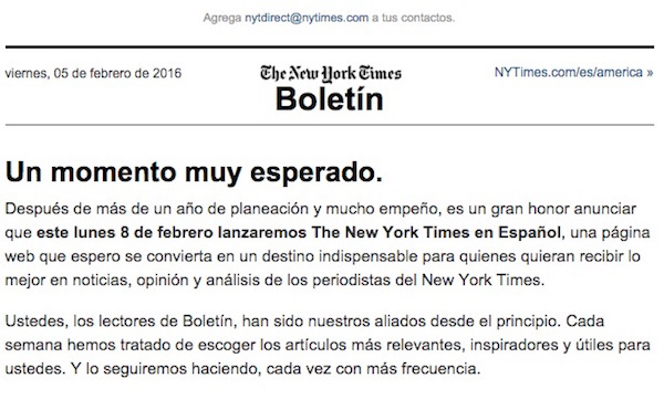 NYTSpanishNewsletter