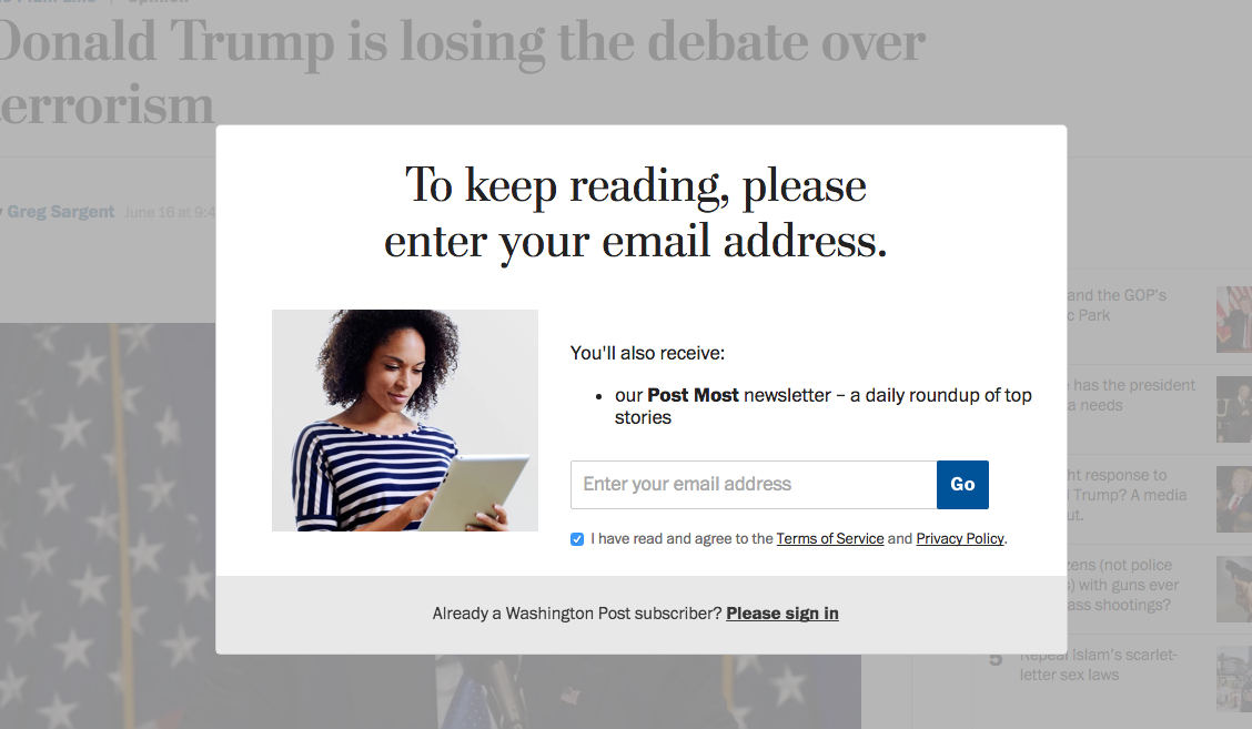 how to read washington post online for free