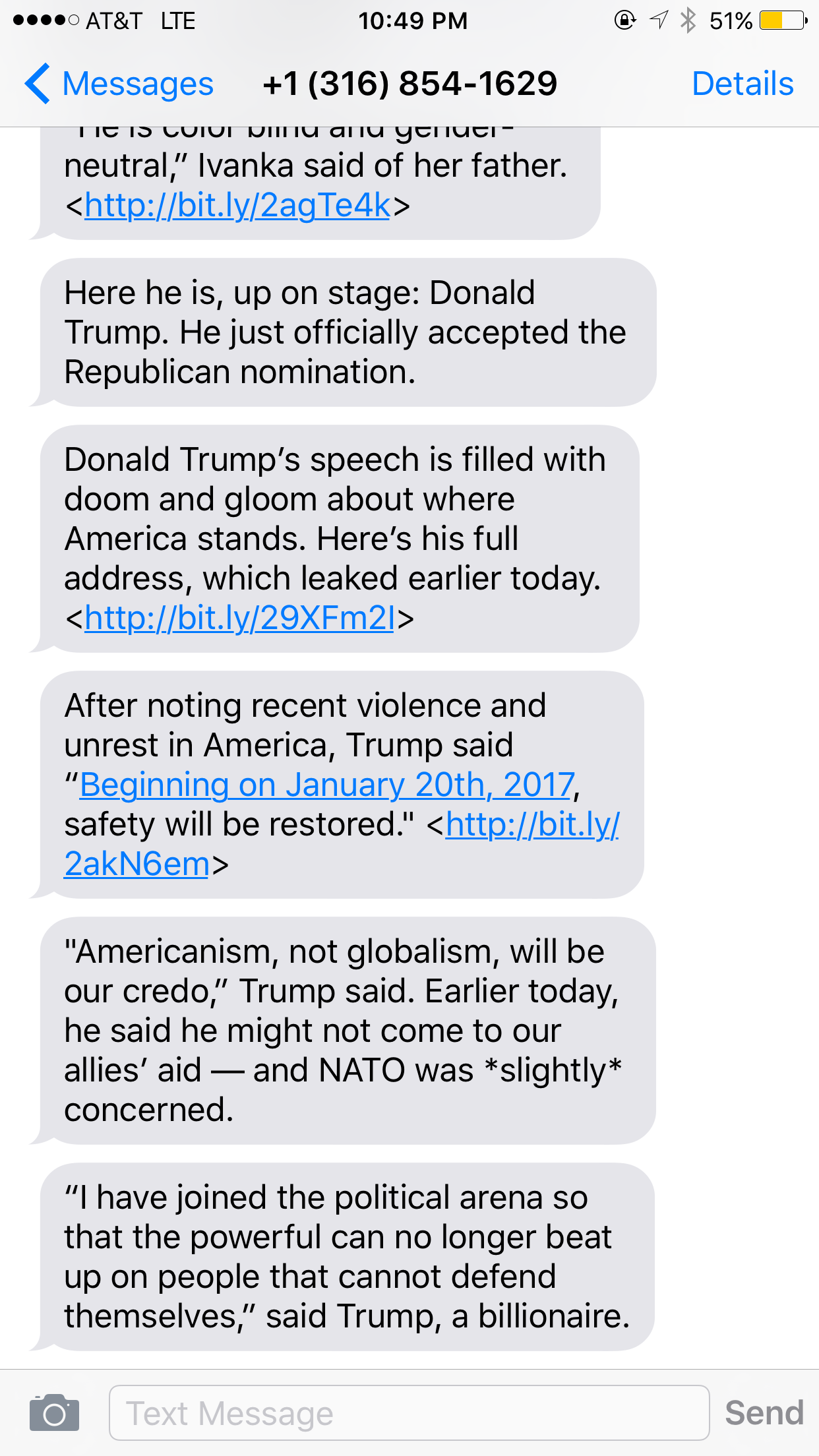 Mic used text messaging during the Republican National