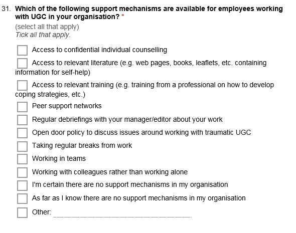 ugc survey screenshot