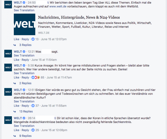 The Facebook Page Of German Daily Die Welt Will Talk To You