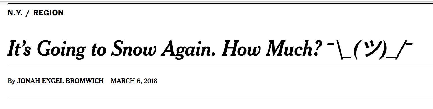 The New York Times put ¯\_(ツ)_/¯ in a headline