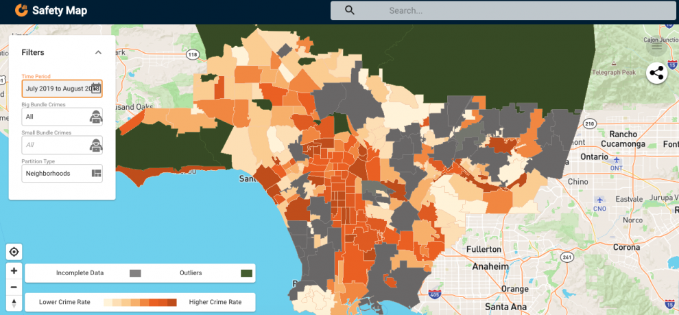 safe areas of los angeles map Every Crime Map Needs Context This Usc Data Journalism Project