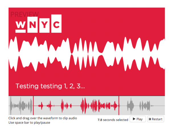 """WNYC is open sourcing its tool for generating """"audiograms,"""" shareable audio clips for social media"""