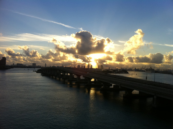 View of the sunrise over Biscayne Bay from the Herald's newsroom