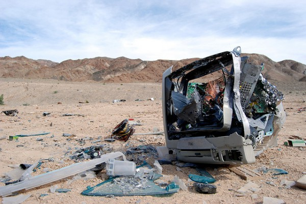 Busted computer in the desert