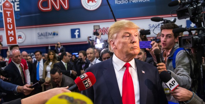 LAS VEGAS, NV - December 15, 2015:  Donald Trump pictured in the Spin Room at the CNN GOP Debate at The Venetain Resort in Las vegas, NV on December 15, 2015. Credit: Erik Kabik Photography/ MediaPunch/IPX