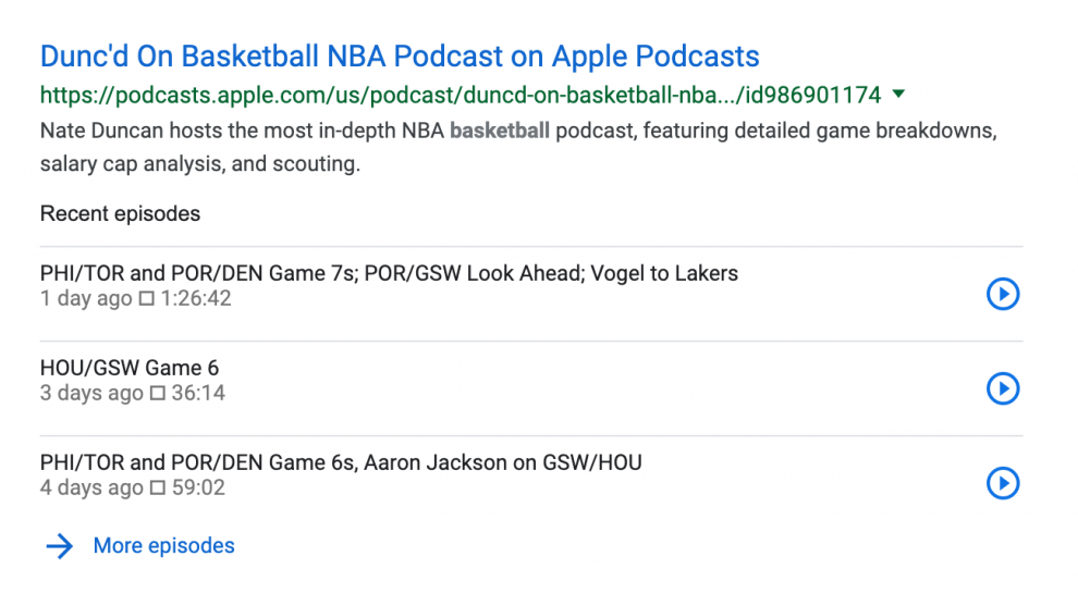 Podcast episodes will now show up in Google searches