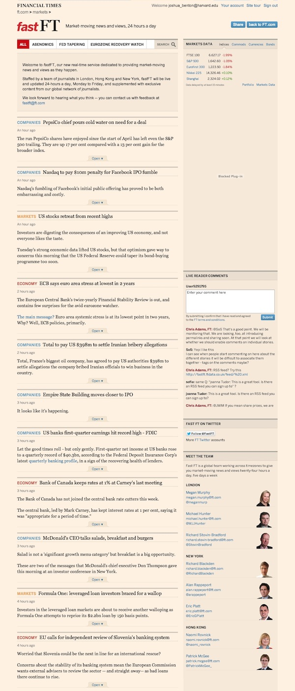 Market-moving news and views, 24 hours a day - FT.com