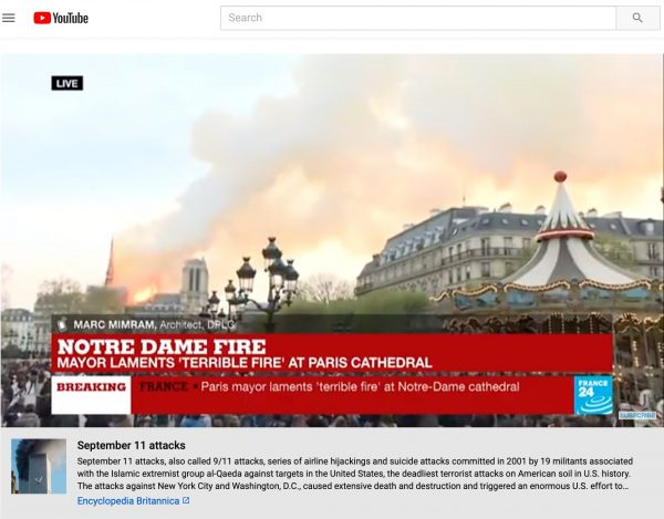 As Notre Dame burned, an algorithmic error at YouTube put information about 9/11 under news videos