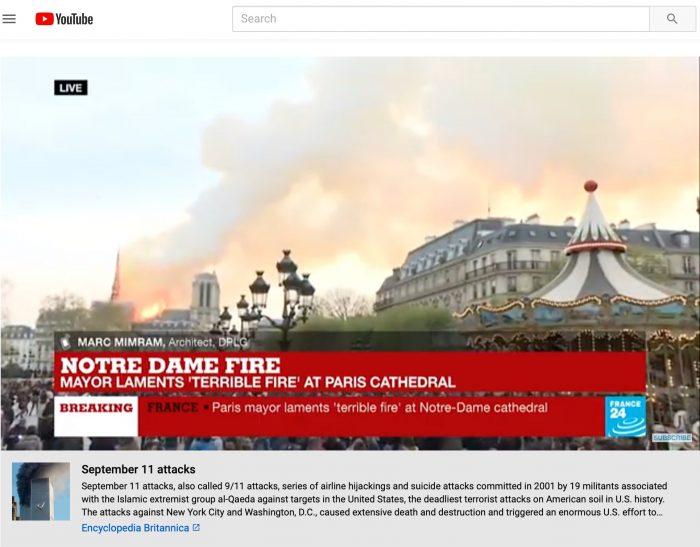 As Notre Dame burned, an algorithmic error at YouTube put
