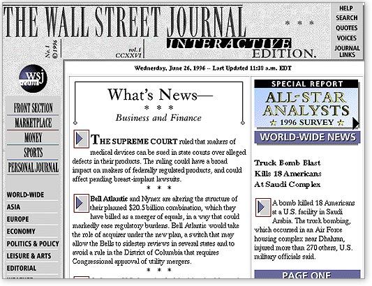 The Wall Street Journal website — paywalled from the very beginning