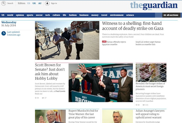 new guardian homepage