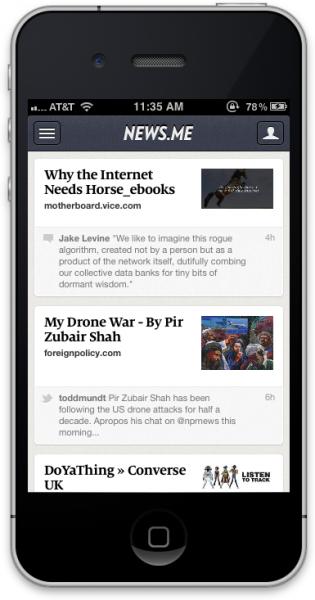 News.me iPhone app screen shot