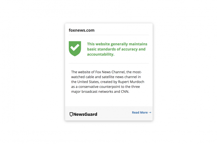 NewsGuard considers Fox News a healthy part of your news