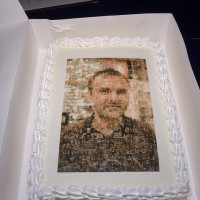 Cake featuring the likeness of Nick Denton