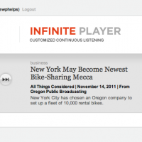Screen shot of NPR's Infinite Player