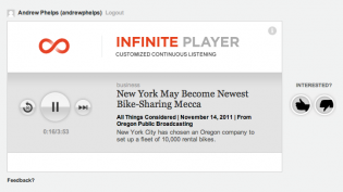 Screen shot of NPR's Infinite Player