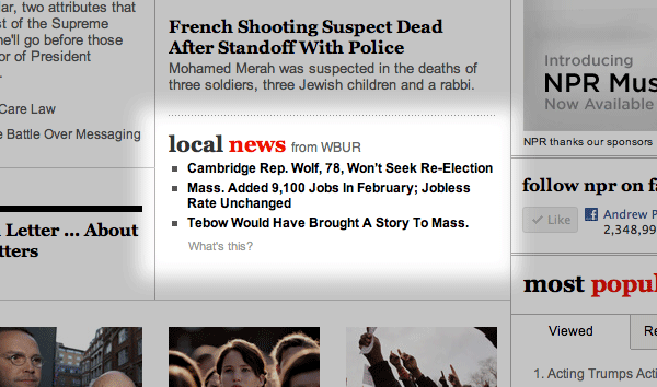 Screen shot of local headlines on NPR.org home page