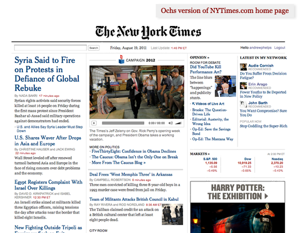 Ochs version of New York Times home page