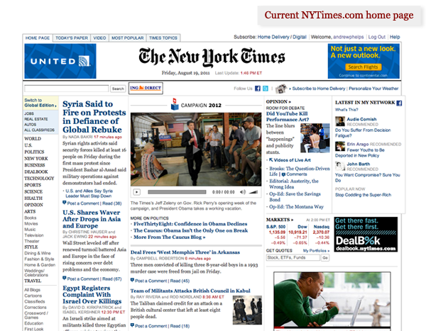 Current New York Times home page