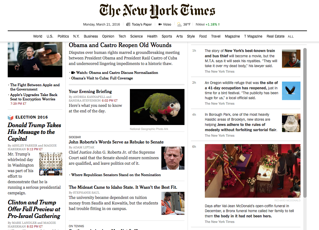 The New York Times is still searching for the best mix of stories to curate on its homepage