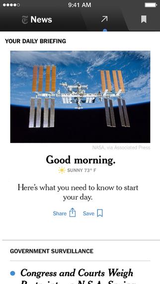 NYT Now app screen