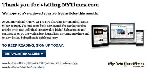 Here S What The New York Times Paywall Looks Like To Canadians Nieman Journalism Lab