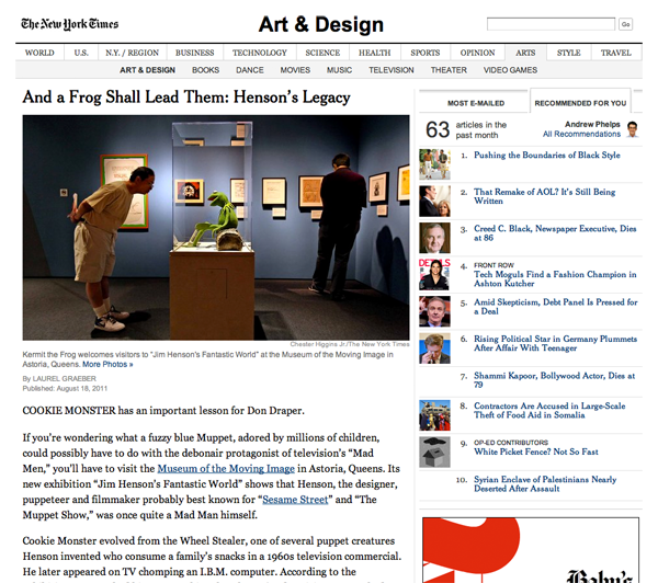 A New York Times article page as interpreted by Ochs
