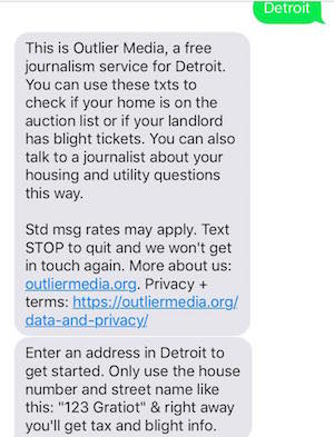 By mass-texting local residents, Outlier Media connects low