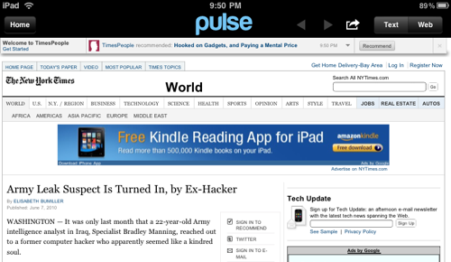 Could loading a feed into an RSS reader be grounds for legal