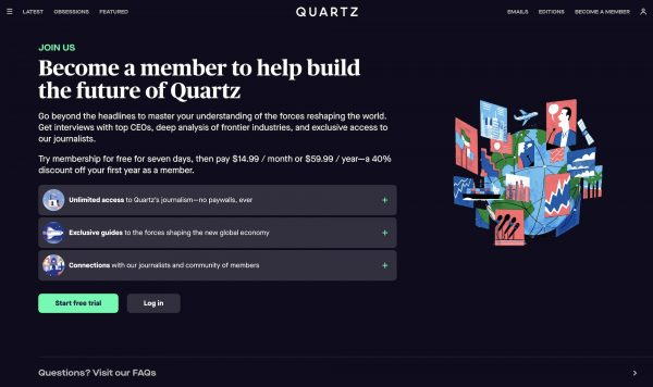 """Publishers are going to live or die based on their relationship with readers"": How Quartz is rethinking its membership offerings"
