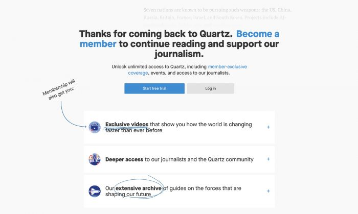 Quartz, built on free distribution, has put its articles behind a paywall