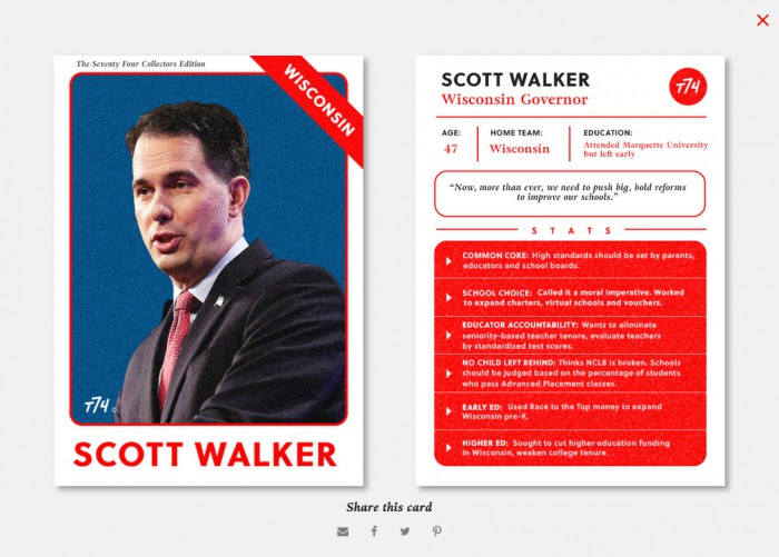 The Seventy Four's baseball scorecard for Scott Walker.