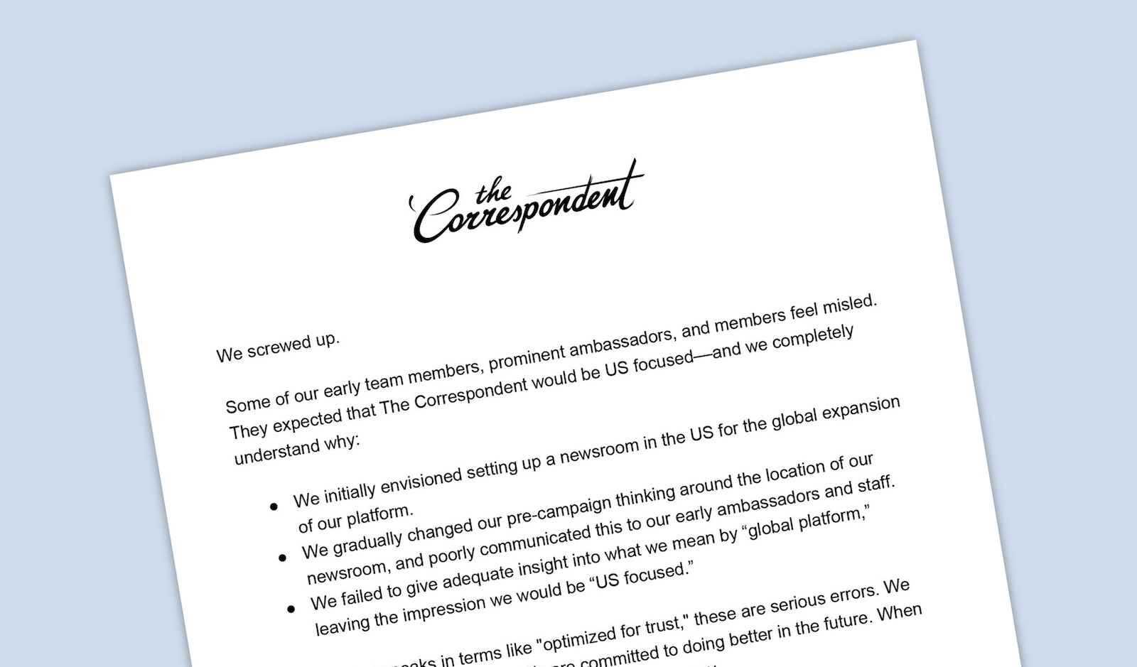 The Correspondent apologizes as Nate Silver, David Simon, and Baratunde Thurston speak out