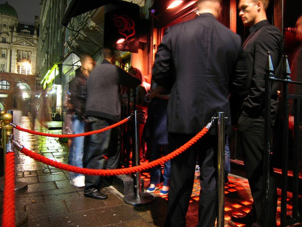 Velvet rope at a nightclub