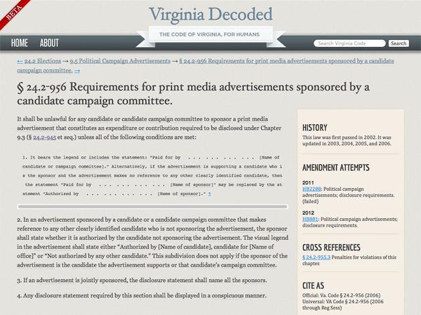 Screen shot of Virginia Decoded