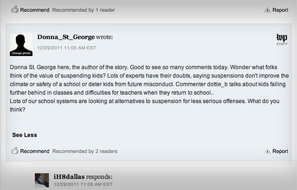 A comment thread on washingtonpost.com