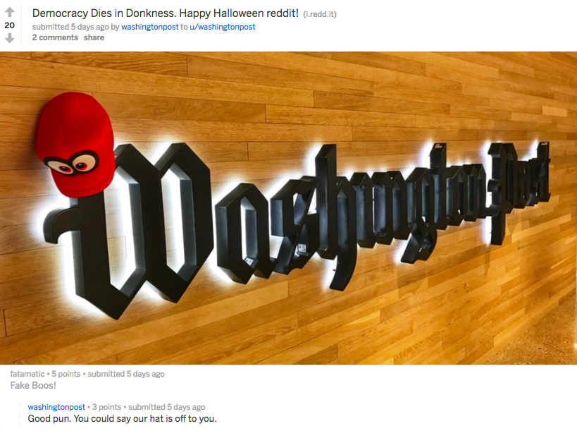 The Washington Post on Reddit surprises users with its non-promotional, ultra helpful presence
