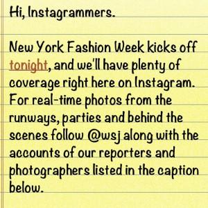 Wall Street Journal Instagram note